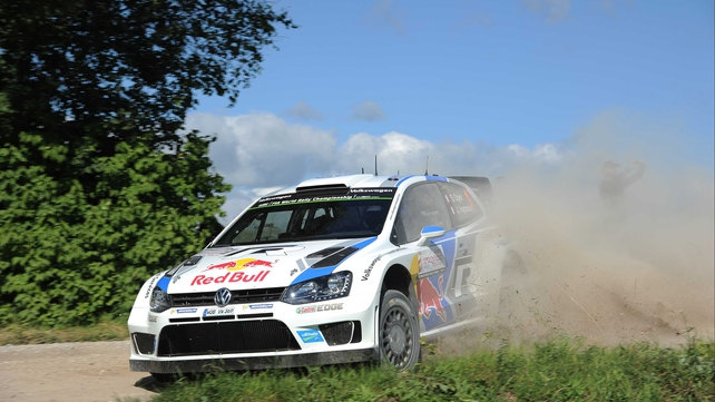 Sebastien Ogier and Julien Ingrassia of France compete in their Volkswagen Motorsport Polo