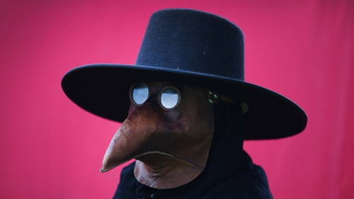 A man dressed as a plague doctor at the Bannockburn Live event to mark the 700th anniversary of a historic battle that saw the outnumbered Scots conquer the English