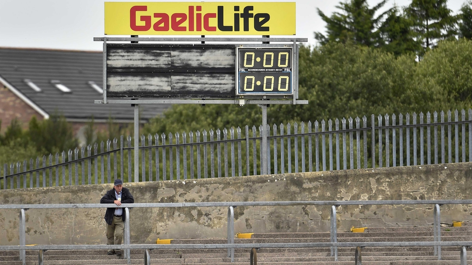 A fan arrives early for the Tyrone v Louth game on Saturday