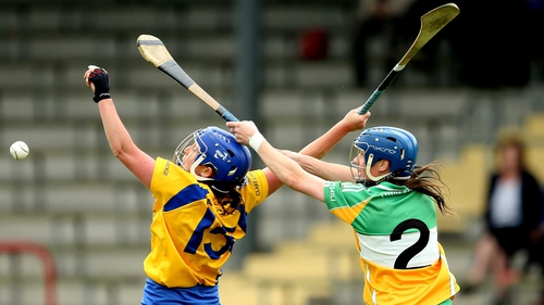 Clare's Claire McMahon and Fiona Stephens of Offaly