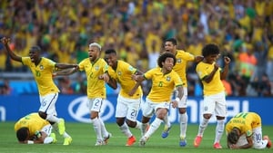 Brazil celebrated securing their place - barely - in the quarterfinals