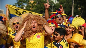 And for the second match of the day, Colombia fans gathered in Rio de Janeiro to watch their squad face off against an embattled Uruguay