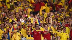 Colombia's fans erupted at the play