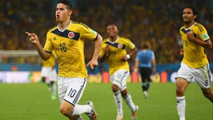 Rodriguez celebrated putting Colombia up 1-0 and scoring in the sixth successive game for his country