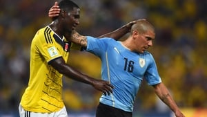 At the start of the second, Colombia defender Cristian Zapata and Uruguay defender Maximilliano Pereira seemed to signal their sides making some peace