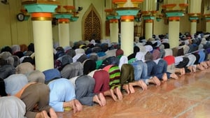 Filipino Muslims pray at the Golden Mosque in Manila