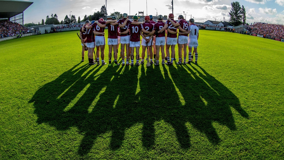 The Galway team stand for a minute's silence before the game against Kilkenny