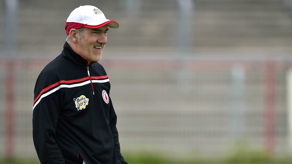 Tyrone manager Mickey Harte having fun during his team's game against Louth...