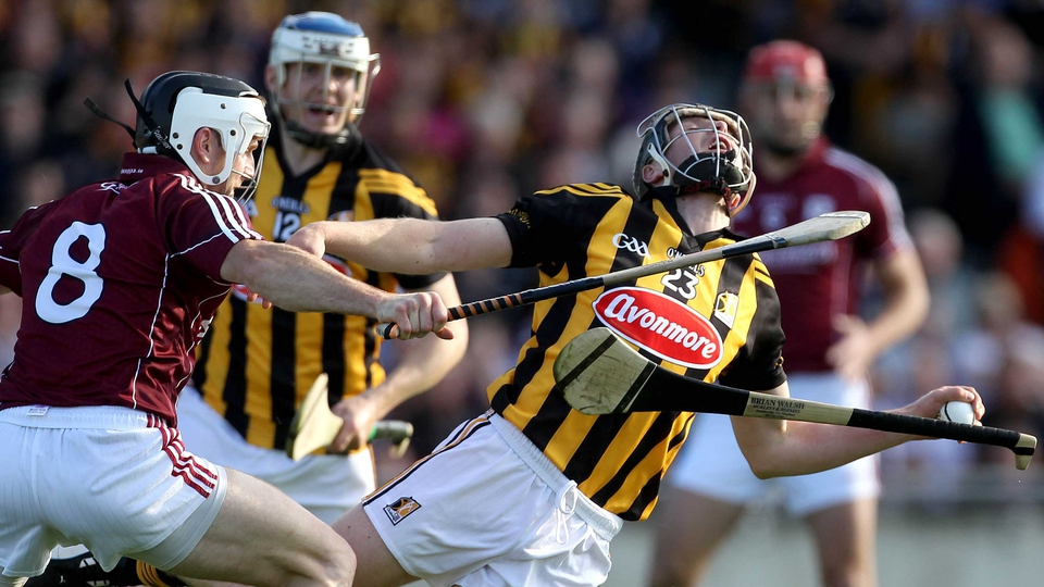 Kilkenny's Aidan Fogarty has a 'Platoon' moment as he's tackled by Andrew Smith of Galway