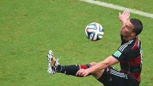 Lukas Podolski injured his thigh during Germany's victory over the US