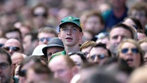 A Meath fan looks on intently as his county triumph in Croker