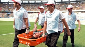 Moreno had to be stretchered off just before the end of the first, owing to a combination of the intense heat and a challenge by Robben