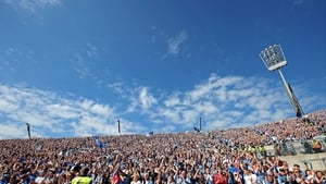 Dublin fans on Hill 16 cheer on their side to victory over Wexford