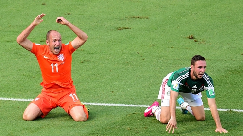 Arjen Robben was accused by Mexico of making three dives during match in Fortaleza