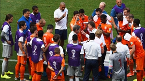 Dutch coach Louis van Gaal strategized with his side during the match's second cooling break