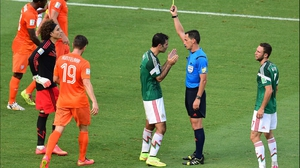 With extra time looming, Mexico's Marquez was booked in the box for a poor challenge on Robben, who - to be fair - fell quite dramatically during the play