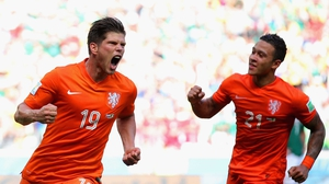 Which he converted with a low left shot. The Dutch pulled off another come-from-behind victory, beating a devastated Mexico 2-1. Huntelaar celebrated his securing victory with Memphis Depay