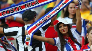 Costa Rica fans dominated the crowd, proudly displaying their flags of red, white and blue