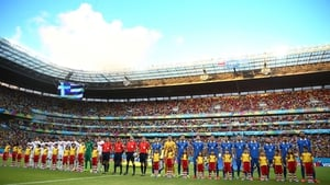 Both sides lined up to sing their anthems before things got underway at the Arena Pernambuco