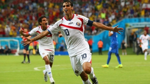 Ruiz celebrated putting Costa Rica up 1-0 at 52' netting their first score which was also their first shot on target