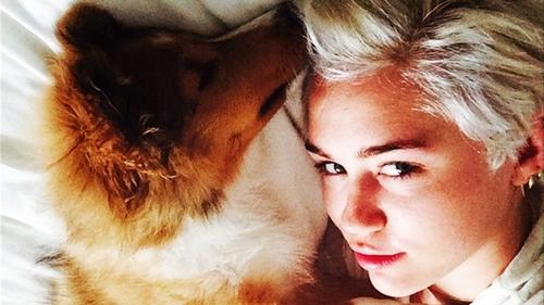 Miley Cyrus and her new dog Emu - Instagram/mileycyrus