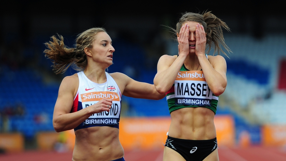 Kelly Massey reacts after winning the Women's 400m Final during day three of the British Championships at the Birmingham Alexander Stadium