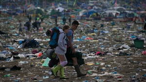 Festival goers begin to leave the Glastonbury Festival at Worthy Farm in Pilton, England