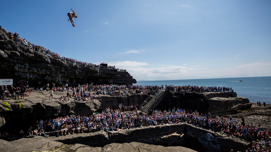 Michal Navratil of the Czech Republic dives from a 28 metre platform during the third stop of the Red Bull Cliff Diving World Series, at Inis Mor, Aran Islands