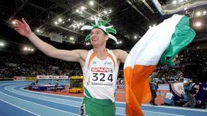 David Gillick celebrates after winning gold at the 2007 European Indoor Championships
