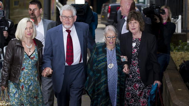 Harris pictured with his daughter Bindi (L), wife Alwen (2nd R) and his niece Jenny (R) arriving at Southwark Crown Court last week