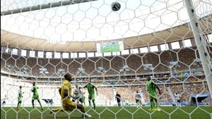 Enyeama then watched a shot off the foot of France midfielder Yohan Cabaye bounce off the cross-bar, inches away from putting France ahead