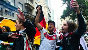 The Germans enjoyed the party unfolding on their way into the Estádio Beira-Rio