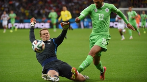 Which must have inspired the players in green, as they came out energetically dominating the Germans. Early on, forward Islam Slimani forced Germany keeper Manuel Neuer to come off his line and make a potentially goal-saving tackle
