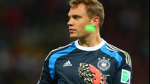 Neuer kept his eye on the ball, going off the line and playing the sweeper on an amazing number of occasions. Only rarely could the fans catch the keeper with their laser pointers