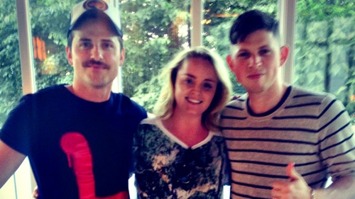 Megan with Jared and Matthew Followill