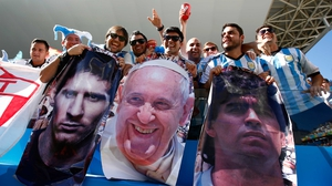 While the Argentinians toted along photos of some of their country's all-time greats
