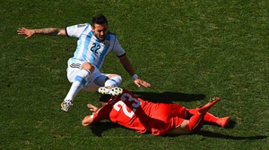 While both sides kicked off the cagey, yet balanced opening half. Argentina forward Ezequiel Lavezzi and Switzerland midfielder Xherdan Shaqiri threw themselves into it early on