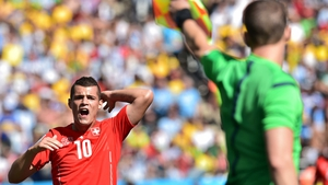 Swiss midfielder Granit Xhaka was frustrated by a call or two, especially when he was booked at 36'