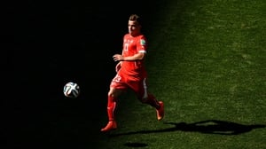 And Shaqiri continued to chase the ball and work to create some chances for his side in red