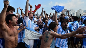 And even though it was anyone's guess who would emerge victorious by the end of it, Argentina fans watching the match at the Copacabana in Rio were elated all the same