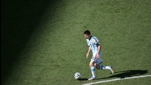 Messi continued to stalk the pitch, darting in and out of the stadium's shadows