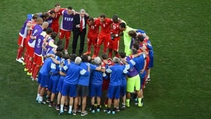 At the start of extra-time, the Swiss team sent their love to fans watching around the world with their heart-shaped huddle