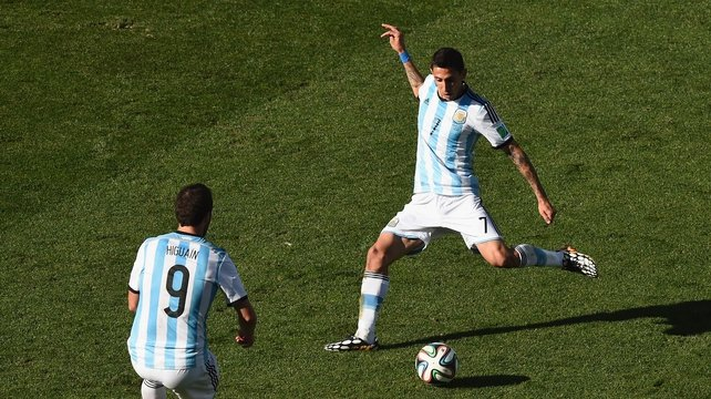 Angel Di Maria (R) starred for Argentina at the World Cup in Brazil