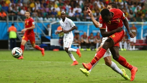 Substitute Romelu Lukaku smashed home a first-time shot to put Belgium 2-0 ahead