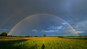 A rainbow in the sky over the Baltic Sea island of Usedom, near Trassenheide, Germany