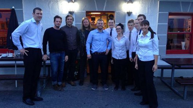 Rock lobster: Arcade Fire with the staff of Moran's Oyster Cottage in Kilcolgan, Co Galway