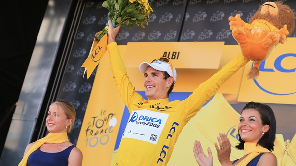Daryl Impey on the podium during last year's Tour de France