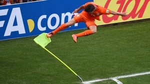 Klaas-Jan Huntelaar of the Netherlands celebrates scoring his team's second goal from a penalty kick against Mexico