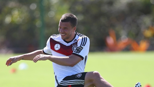 Lukas Podolski pulled a thigh muscle in the group game against the US