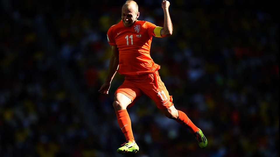 Flying Dutchman Arjen Robben celebrates in Fortaleza